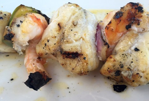 Marias Restaurant - Praia de Garrao - Algarve - Portugal - Monkfish Prawn Skewer