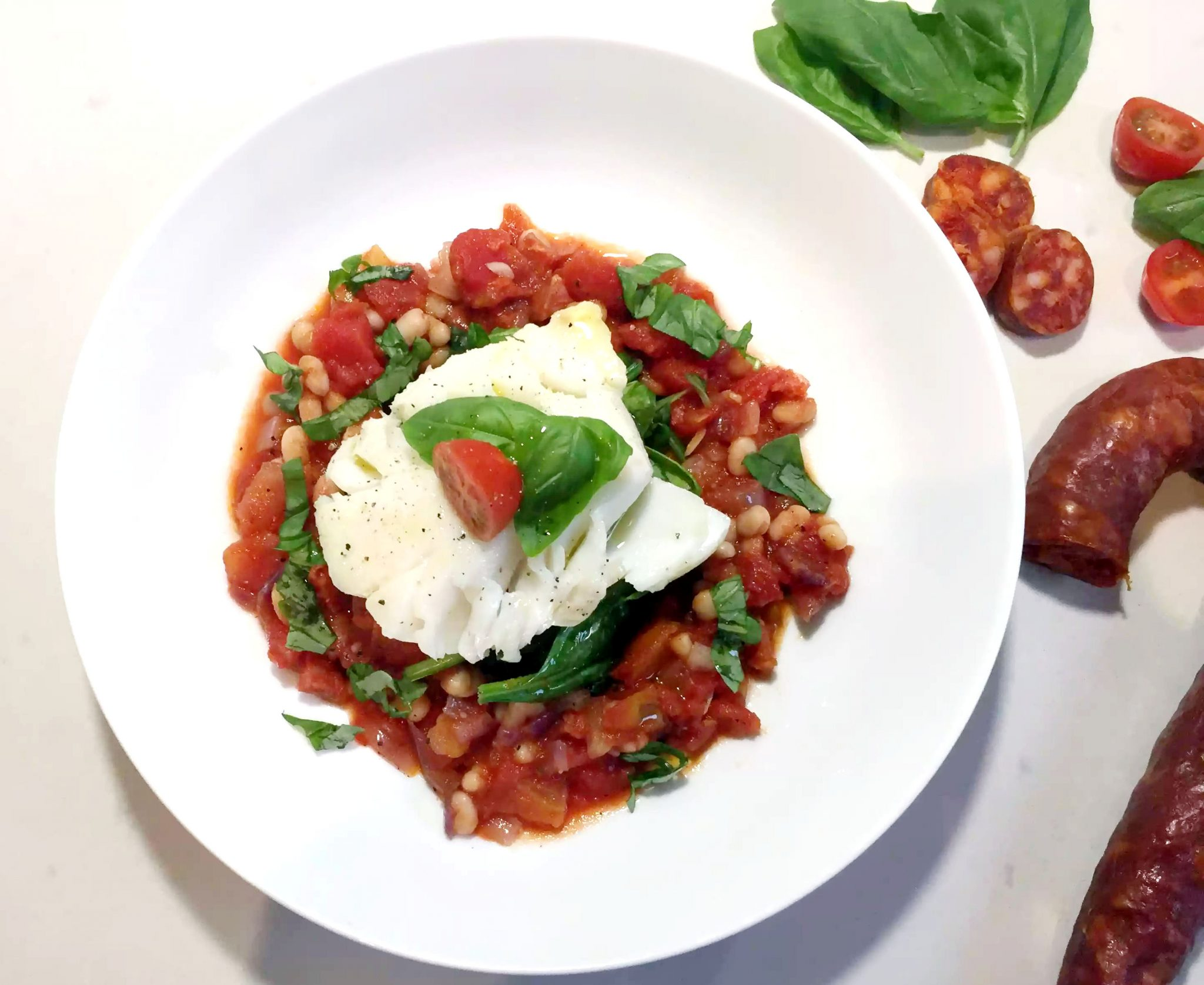 Pan Fried Cod with Tomato Chorizo Cassoulet