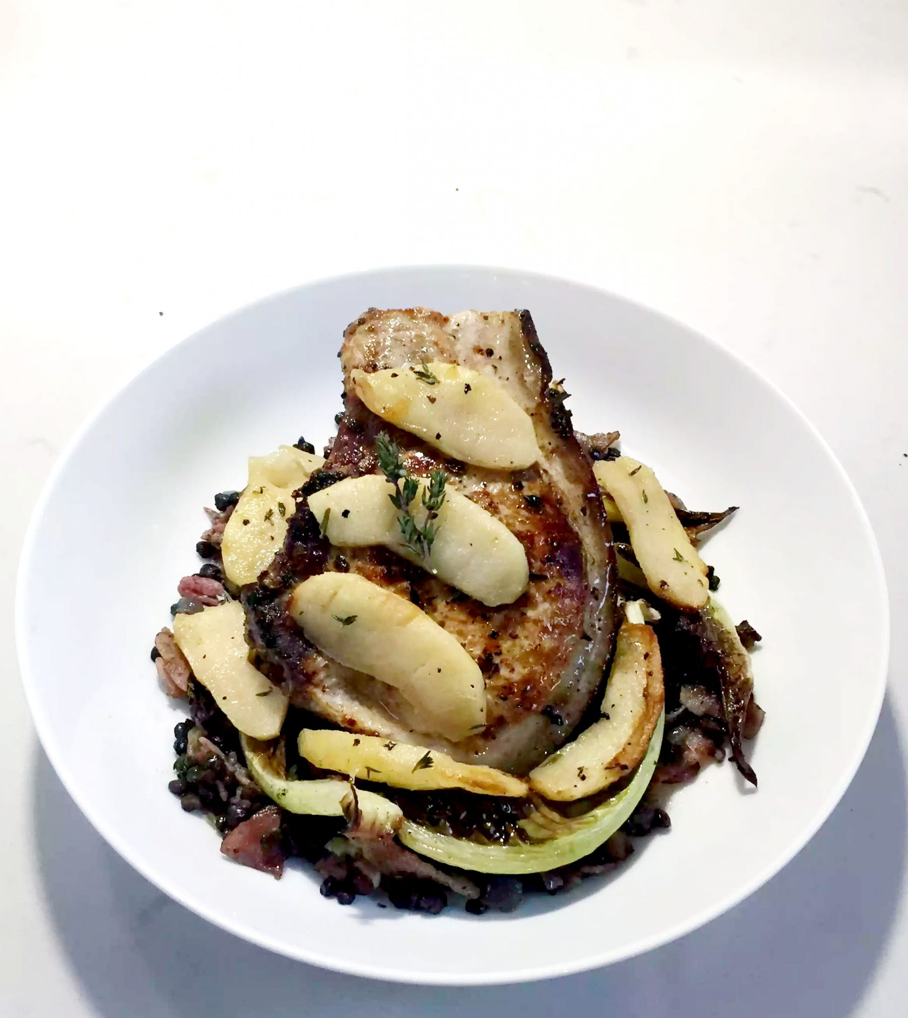 Pork Chops with Butter Poached Apples