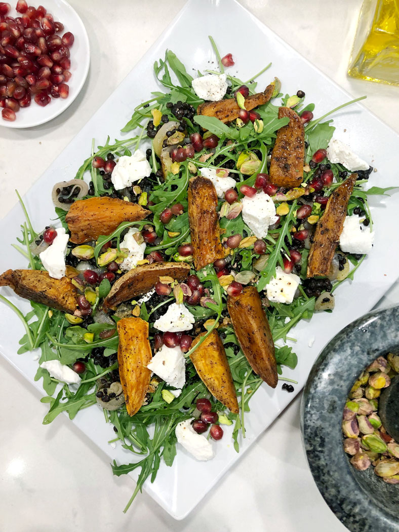 Roasted Sweet Potato Salad with Lentils & Goats Cheese