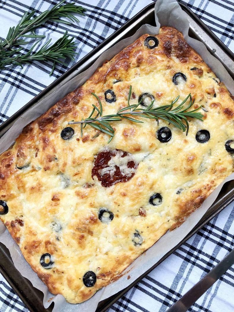 Grain Free Focaccia – Olives, Sundried Tomato & Rosemary