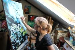 Painting in my studio