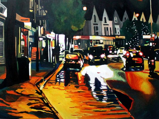 Contemporary Oil painting of Night time Urban scene