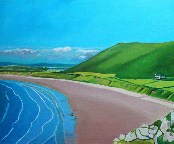 Painting of Gower, Rhossili Bay