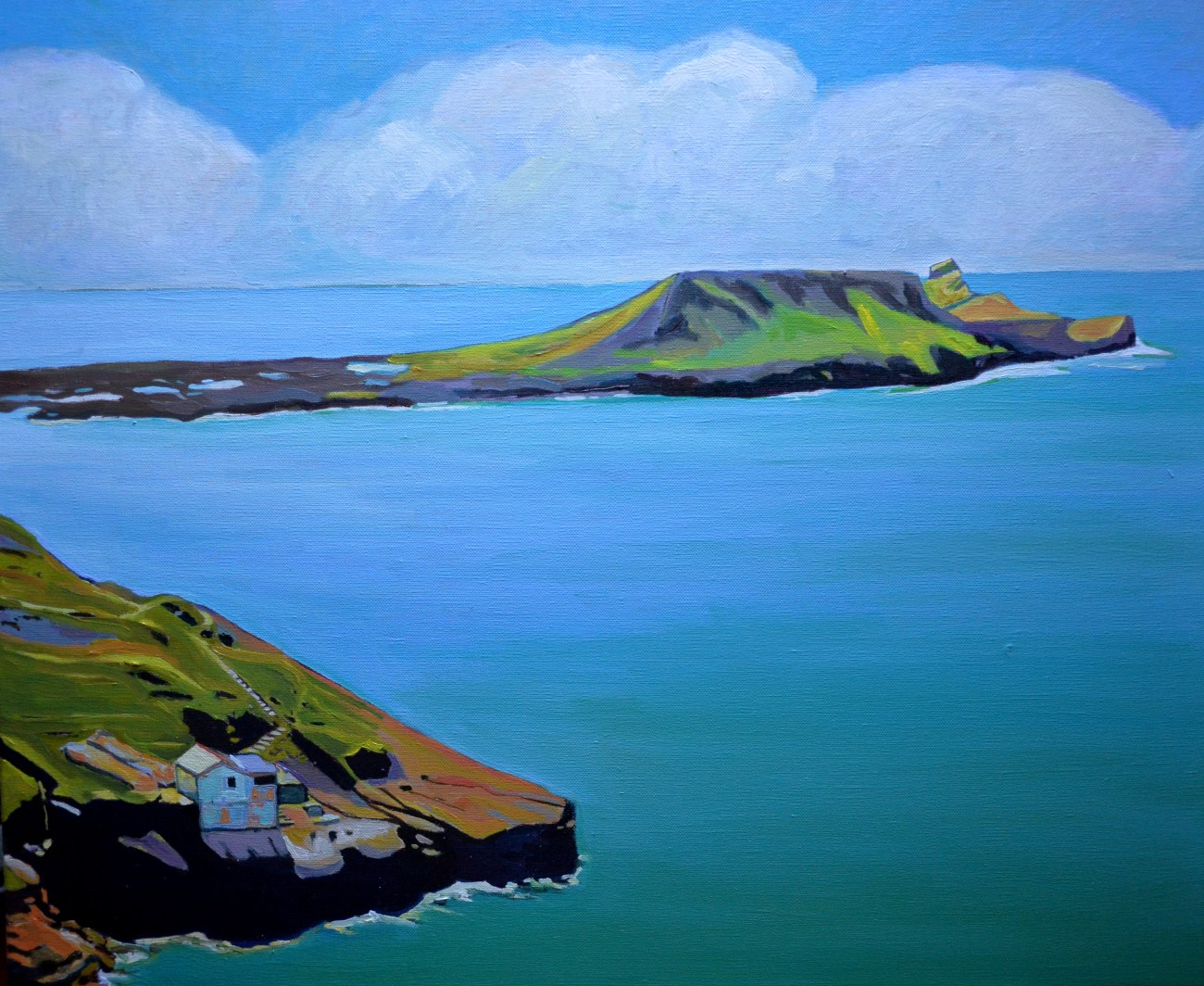 Oil painting Worms Head Gower