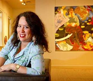 Pic shows Wendy Sharpe, winner of the Portia Geach Memorial for her work titled Self Portrait with Tea Cup and Burning Paintings . She is pictured at the S.H. Ervin Gallery in Sydney. 25th September 2003 SMH, NEWS, Wendy Sharpe Picture by Dallas Kilponen/dak. Story by Sharon Verghis SPECIAL 00000