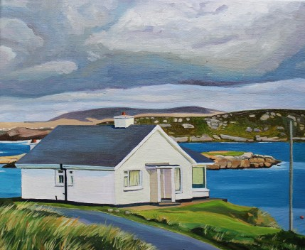 Painting of Irish cottage by the sea