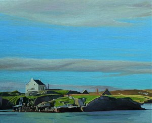 Painting of view from Burtonport to Arranmore, Donegal, Ireland,