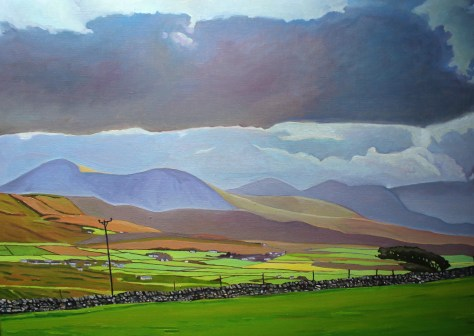 Painting of Derryveagh mountains, Donegal, Ireland.