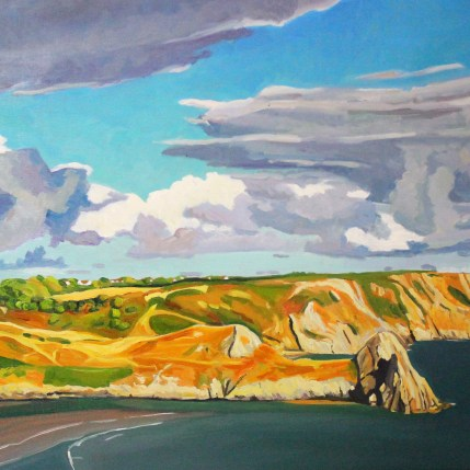 Painting of Three Cliffs Bay, Gower.