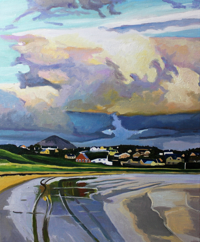 Painting of Bunbeg Harbour, Gweedore, Donegal, Ireland.