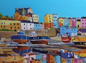 Colourful painting of Tenby Harbour