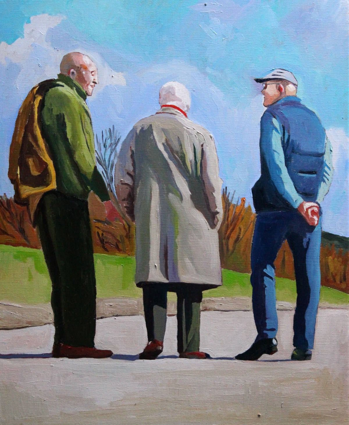Painting of old men in the sunshine