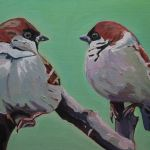 Painting of Two Sparrows