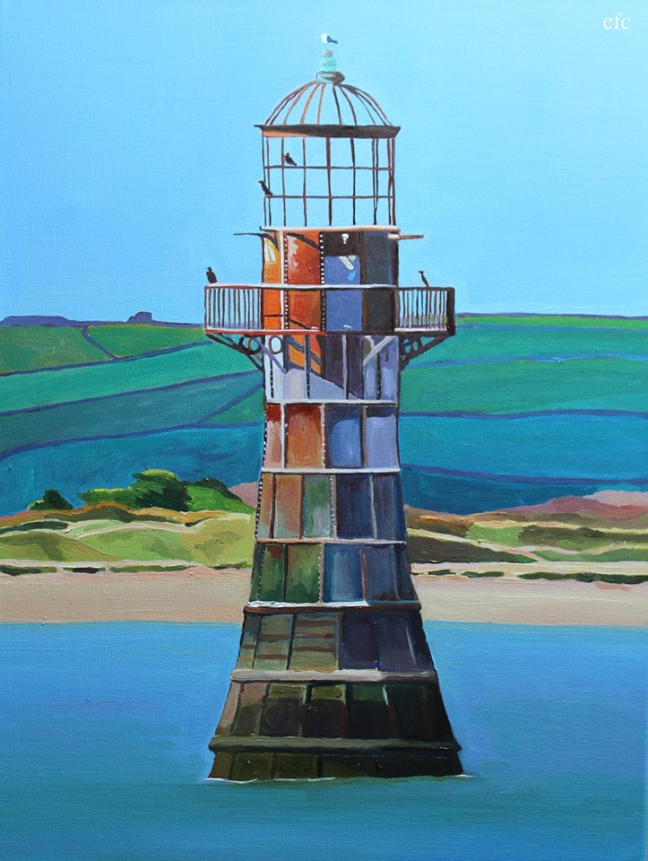 Oil painting Whiteford Lighthouse by Emma Cownie