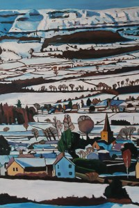 Painting of Crickhowell in snow