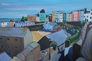 Painting of view of Tenby Harbour
