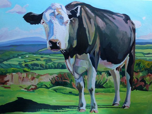 Oil painting of black and white cow in Gower landscape