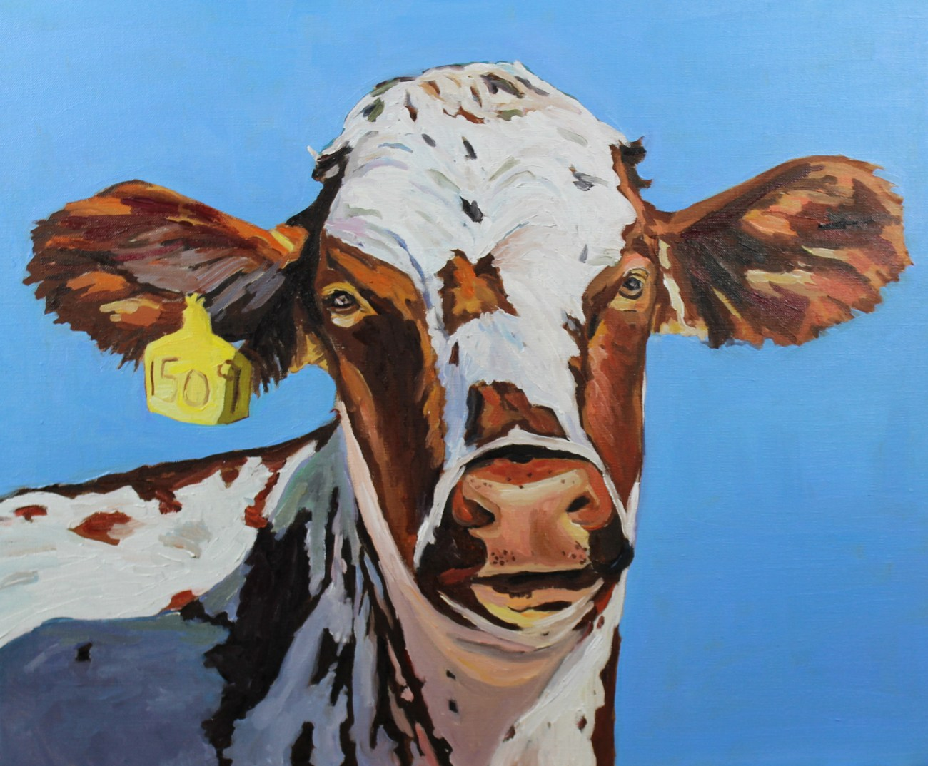 Oil painting of a Cow by Emma Cownie