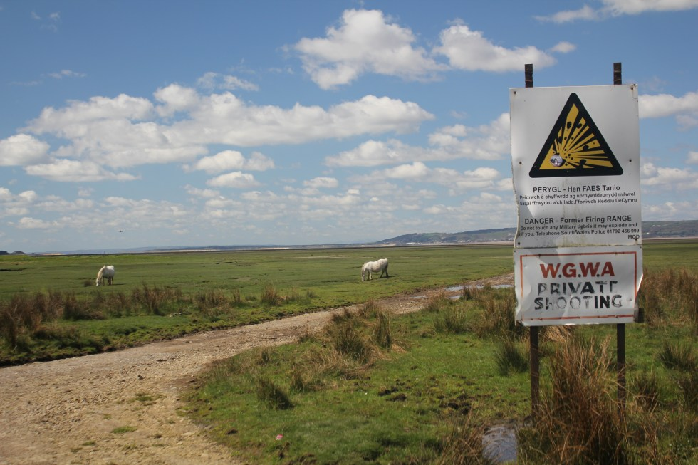 Danger sign on North Gower Marsh