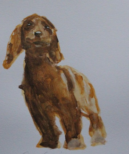 Painting of a cocker spaniel dog