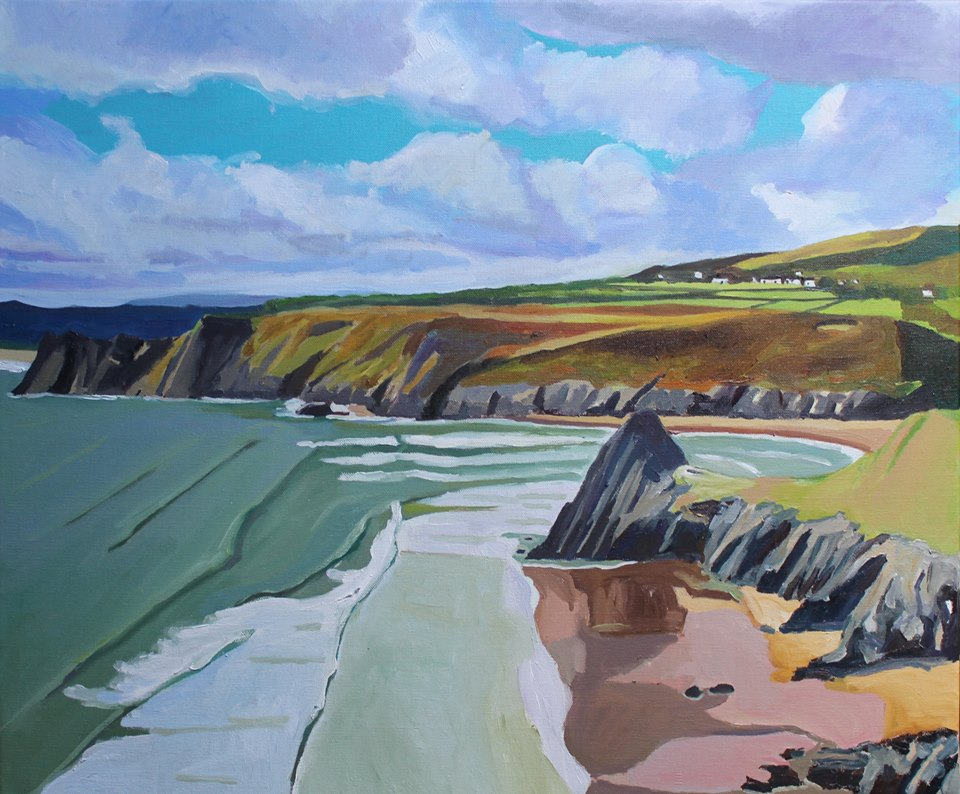 Oil painting of Three Cliffs, Gower