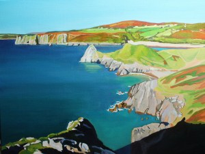 painting of Three Cliffs Bay, Gower, Wales_EmmaCownie