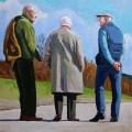 Painting of men on Swansea promenade