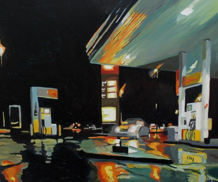 Oil Painting of gas station in the rain