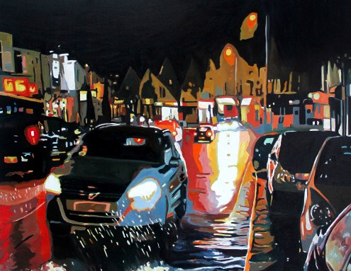 Painting of car in a rainy night street