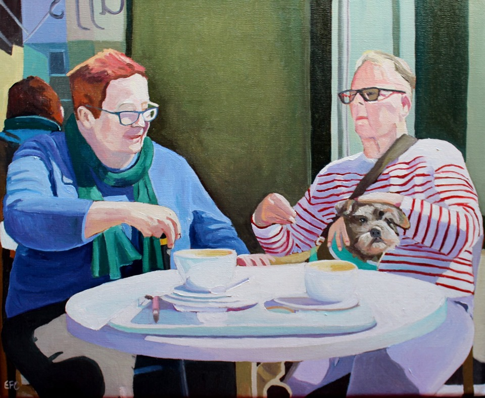 Two women and their dog painting