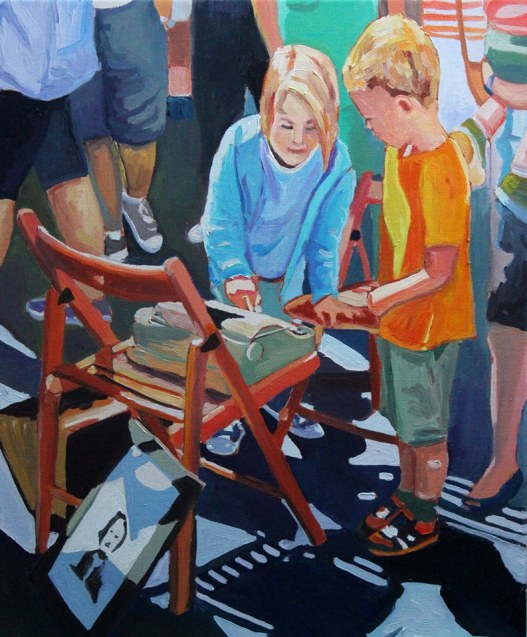 Painting of Children with typewriter