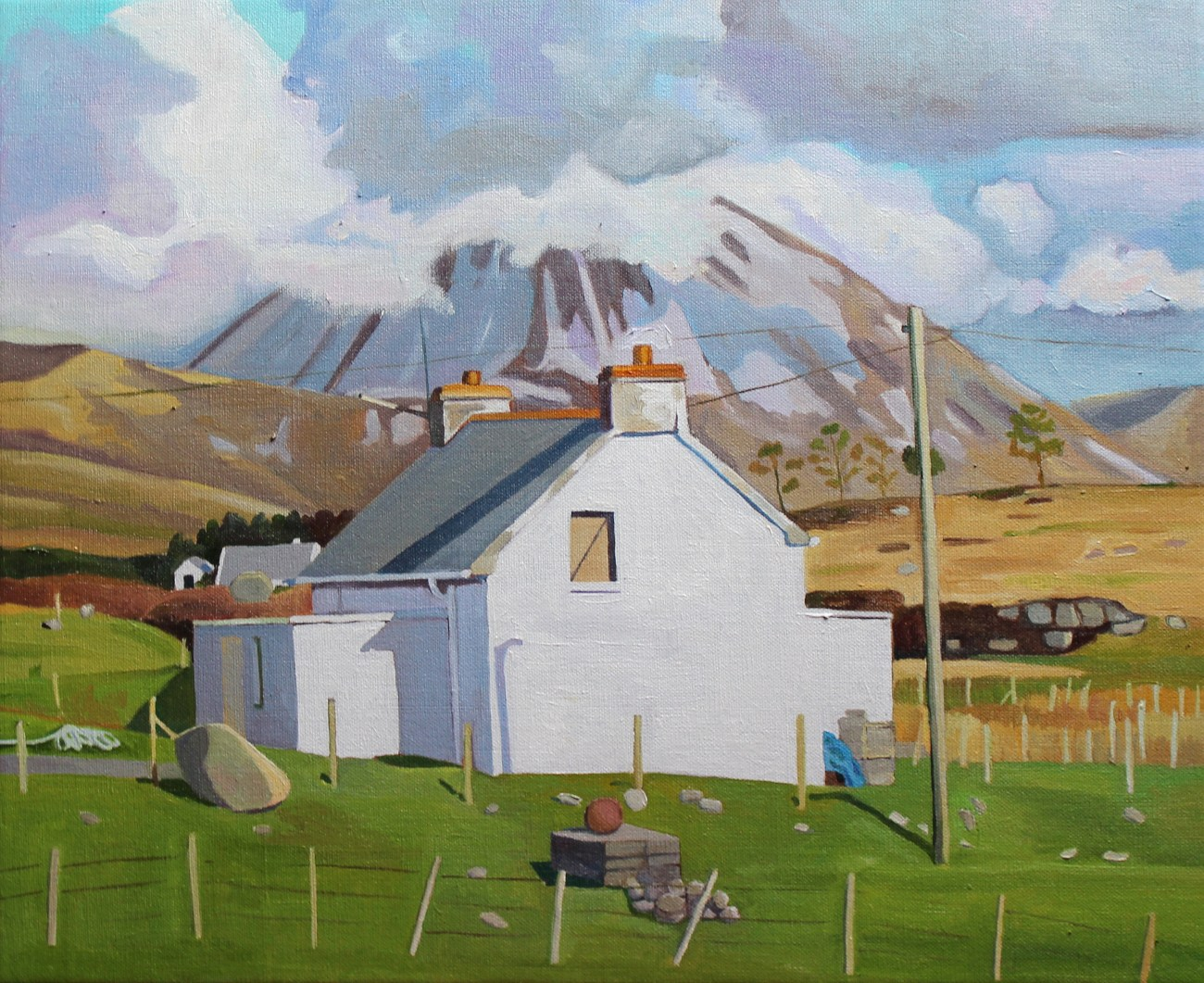 Painting of Donegal cottage with Mount Errigal