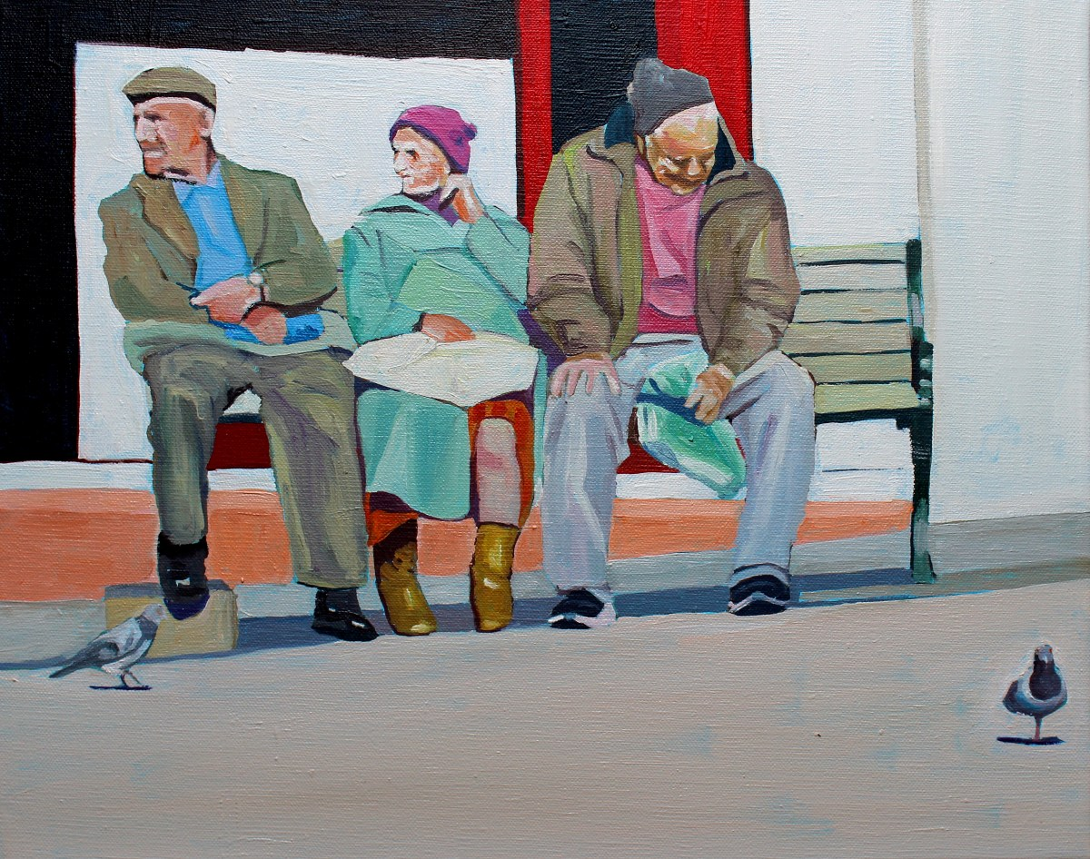 Painting of people on a bech in Stroud