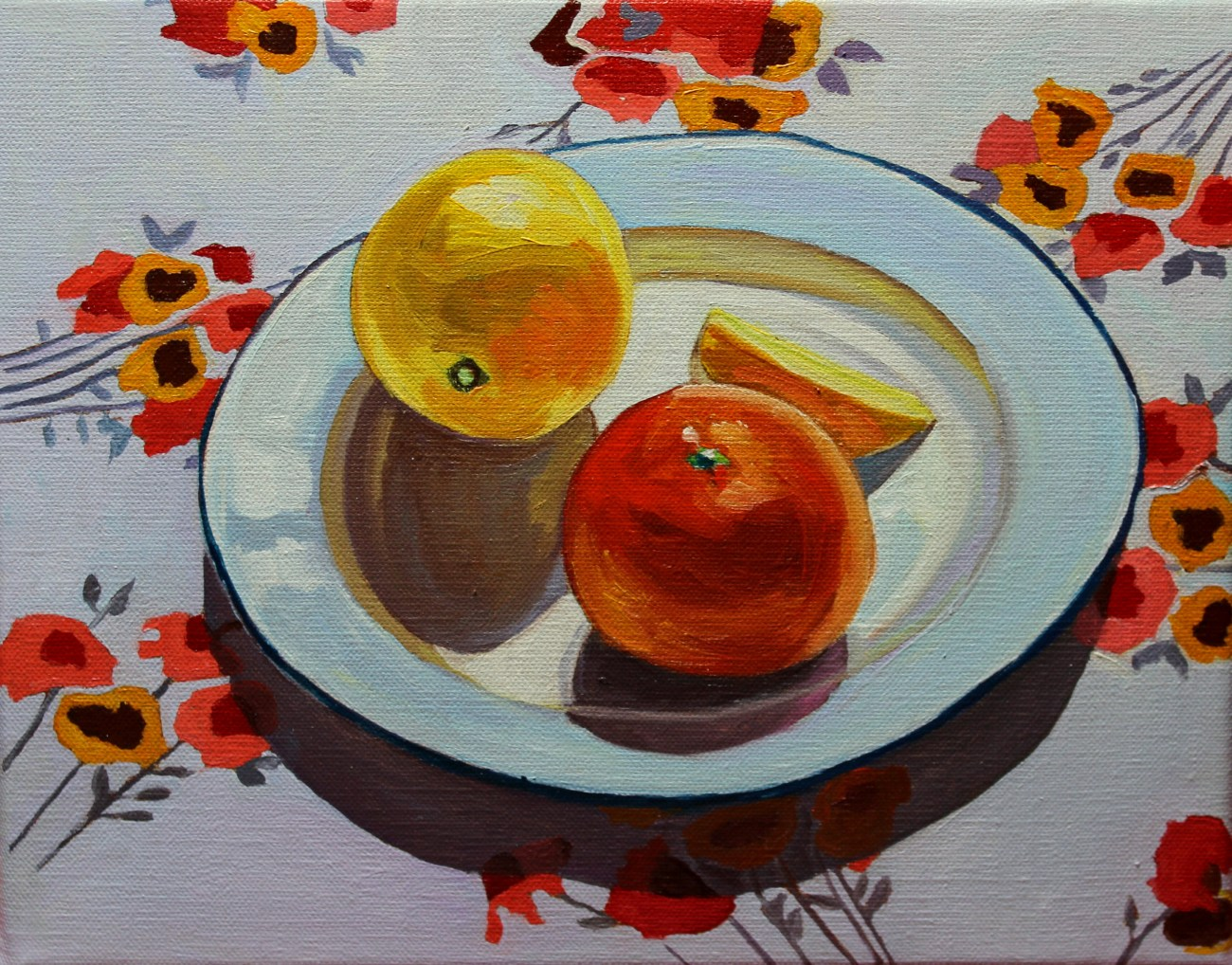 Still life with patterned cloth #2