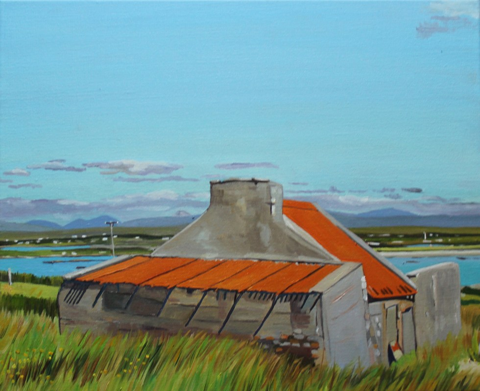 Red Roofed House Painting