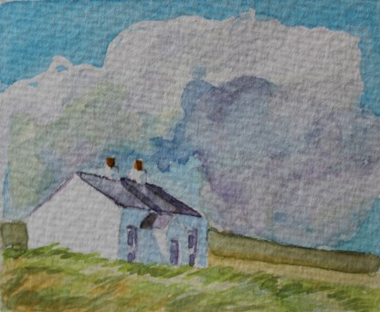 Watercolour of an old white cottage with a new slate roof, Arranmore, Ireland by Emma Cownie