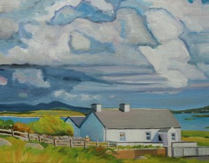 Painting of Arranmore of view of Darkening Clouds On Maghery, Ireland