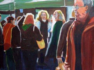 Painting of Uplands Outdoor Market, Swansea