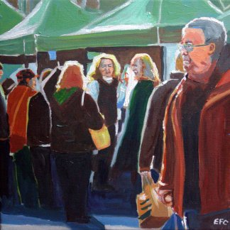 Painting of Uplands Outdoor Market, Swansea