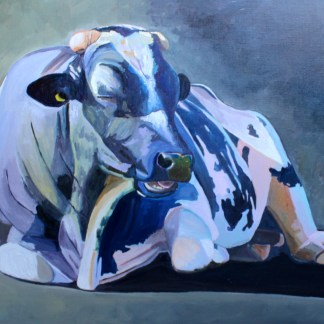 Painting of a bull sitting