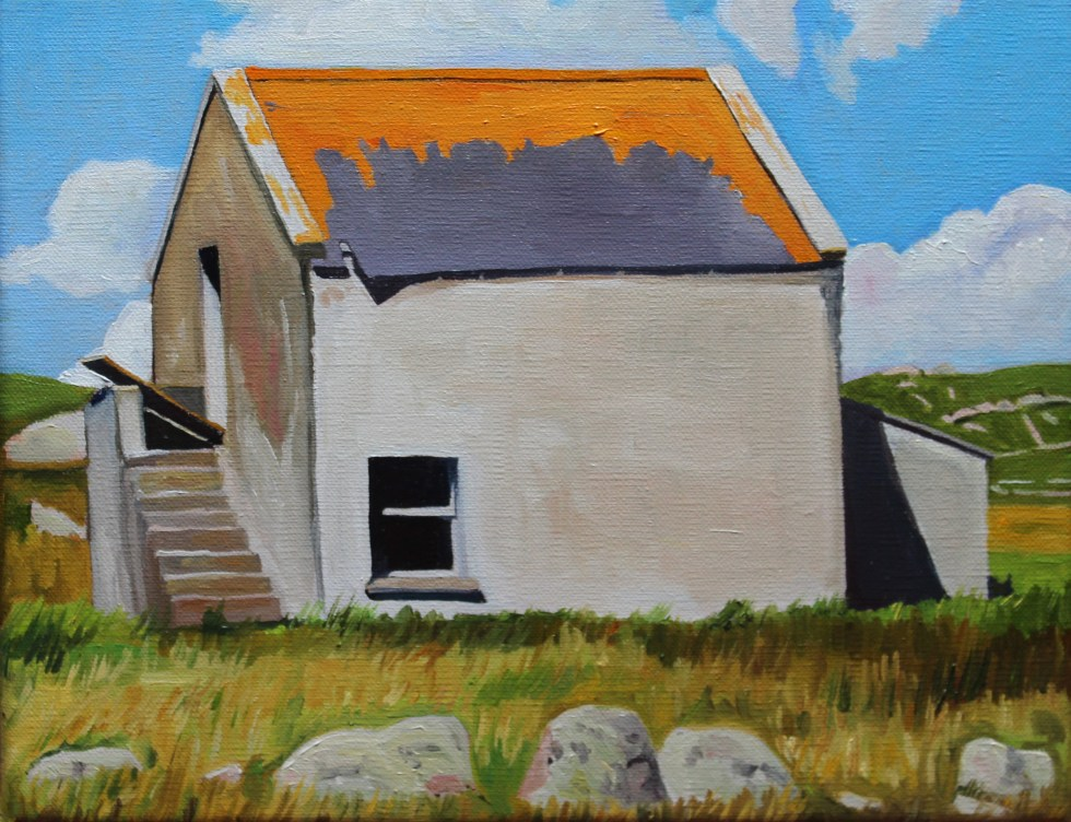 Painting of old building on Gola Donegal Ireland