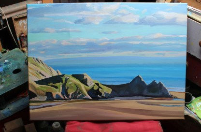 Painting of Sun setting on Three Cliffs,Gower_Emma Cownie