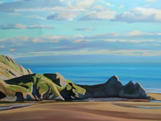 painting of Three Cliffs,Gower_Emma Cownie