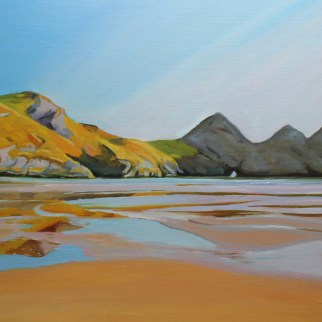 Painting of Three Cliffs Bay by Cownie