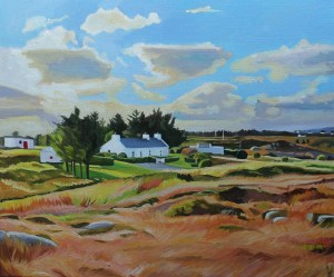 Landscape painting of a cottgae in the Rosses, Donegal
