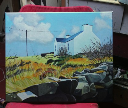 Painting of traditional cottage on Arranmore Island, Ireland.