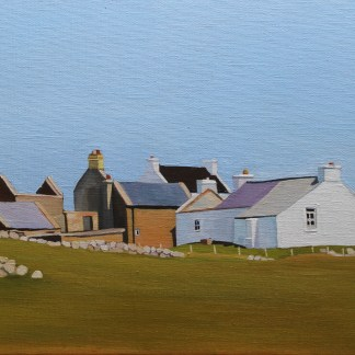 Painting of old houses on Goal Island, Ireland