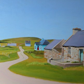 Painting of cottages on Gola Island, Donegal, Ireland