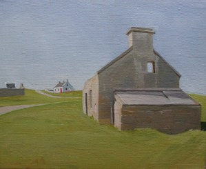 Painting of coattges of Gola Island by emma Cownie